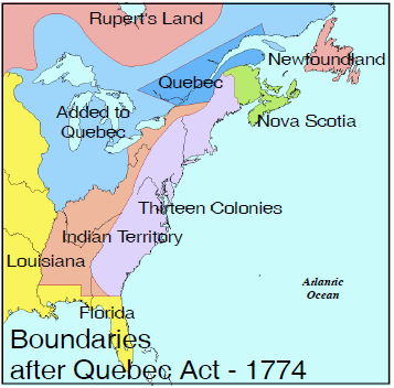 bounderies quebec act 1774