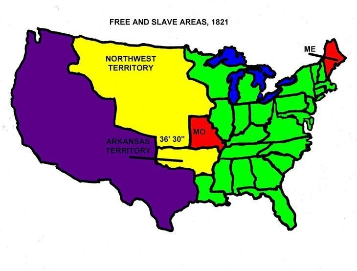 Free and Slave States 1821