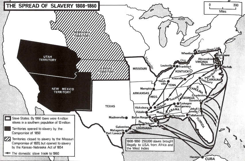 1808-1860 the spread of slaverny