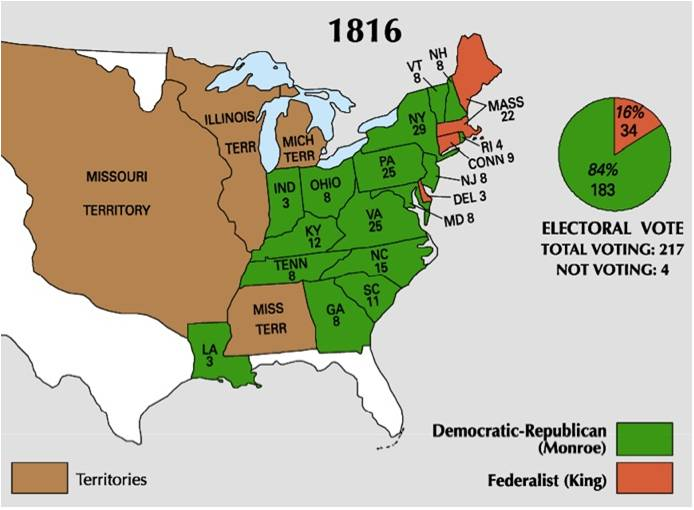 1816 map vs electoral vote 1816